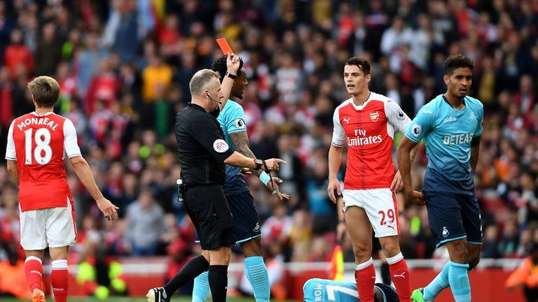 Granit Xhaka is sent off in Arsenal's 2-1 win against Burnley