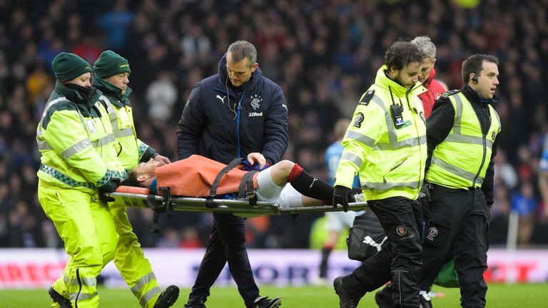 Garner was stretchered off against Celtic