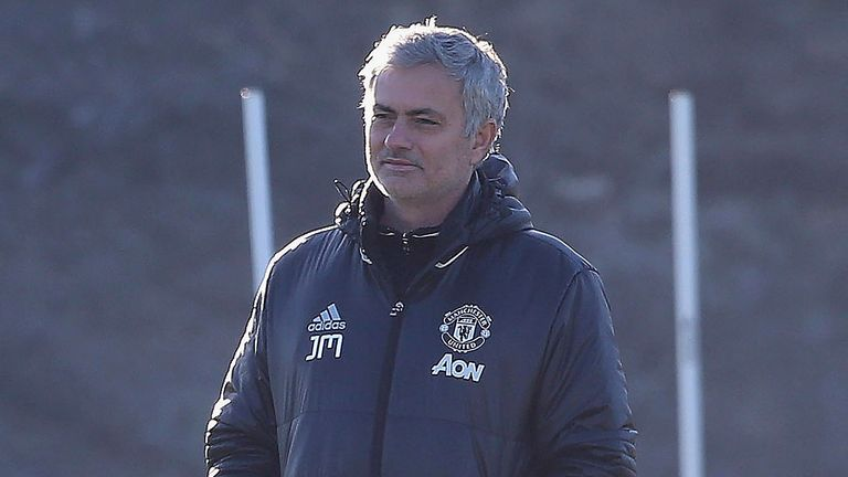 Jose Mourinho takes first team training at the Aon Training Complex