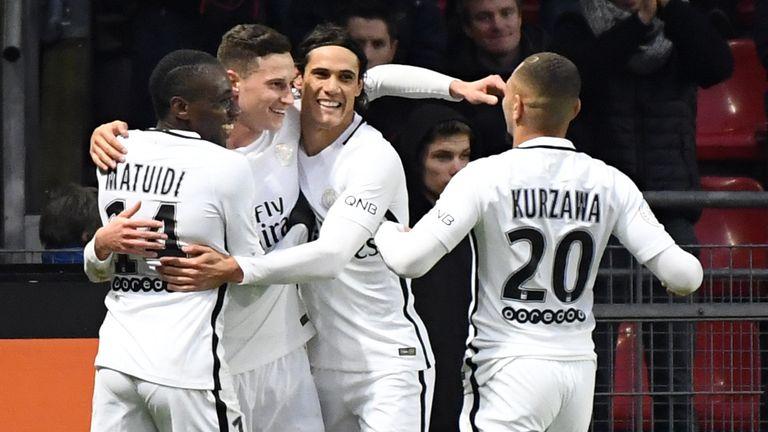 Julian Draxler and his PSG team-mates celebrate