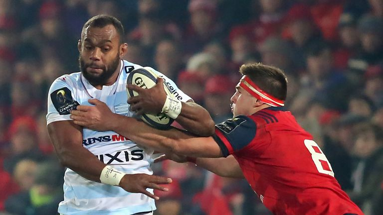 Racing 92's Fijian lock Leone Nakarawa on the attack