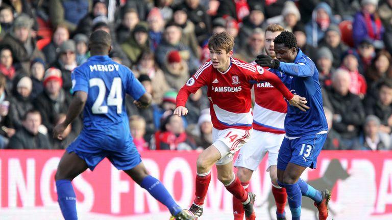 Marten de Roon runs at the Leicester City defence