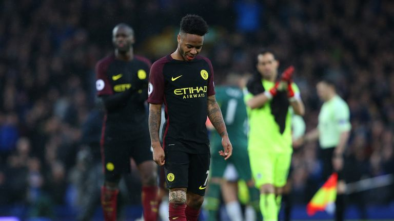 Raheem Sterling walks off the pitch following City's 4-0 defeat to Everton