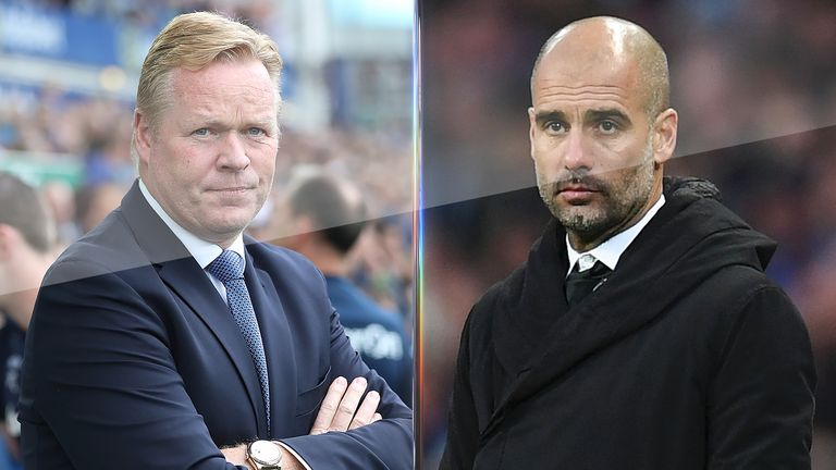 Ronald Koeman and Pep Guardiola will do battle in the first of Super Sunday's double bill