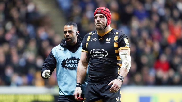 James Haskell had to leave the field seconds after coming on against Leicester