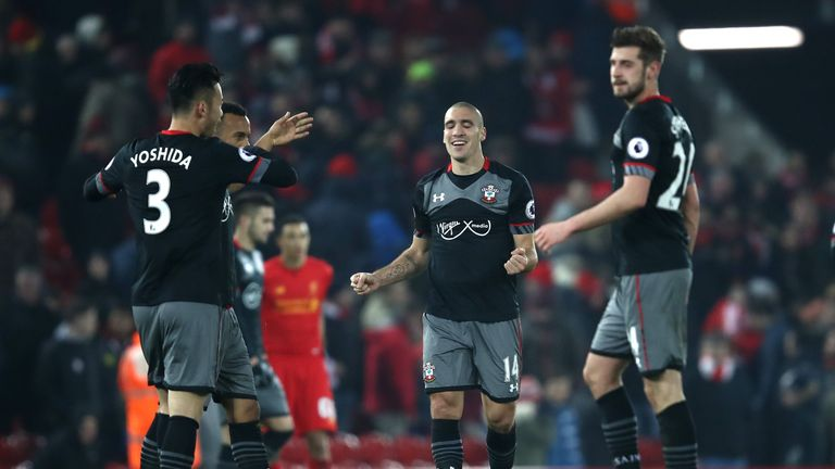 Southampton fans joined by Sam Vokes in celebrating Liverpool win