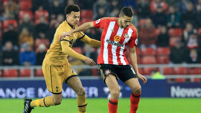 Dele Alli vies with Jack Rodwell for the ball during the Premier League encounter