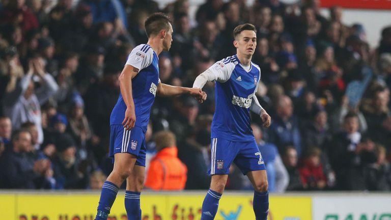 Tom Lawrence (right) spent last season on loan at Ipswich