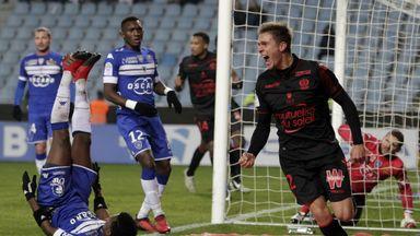 Nice's Arnaud Souquet celebrates after scoring against Bastia
