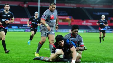 James King goes over for the Ospreys' fourth try against Lyon