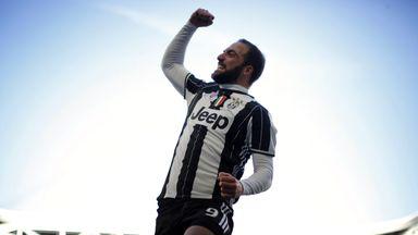 Gonzalo Higuain celebrates his goal for Juventus against Lazio
