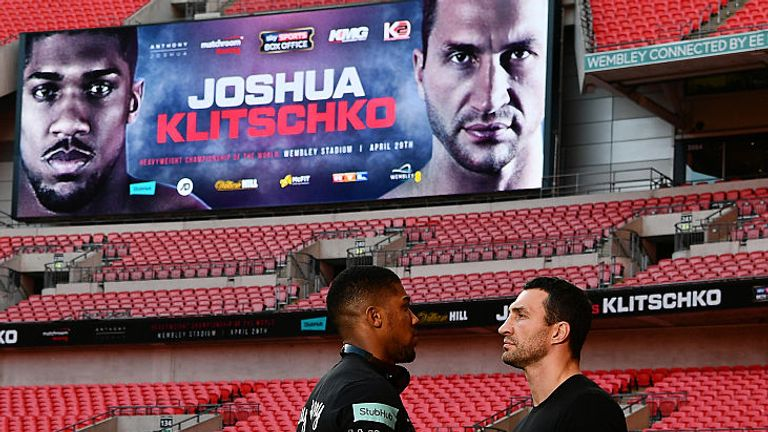 Joshua takes on Klitschko in a world heavyweight title fight at Wembley on April 29
