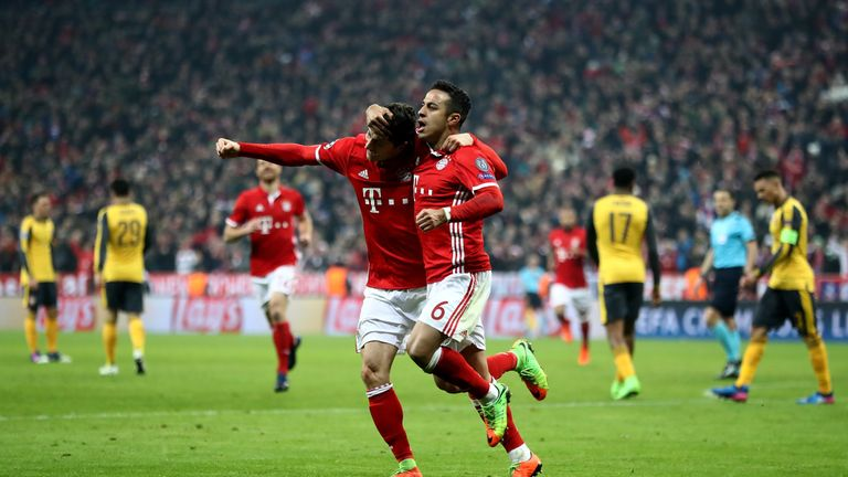 Robert Lewandowski and Thiago Alcantara both scored as Bayern Munich beat Arsenal 5-1