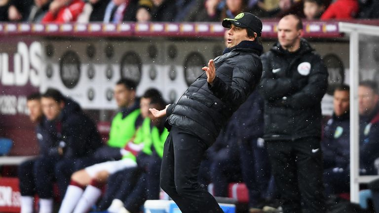 Antonio Conte looks on from the sideline at Turf Moor