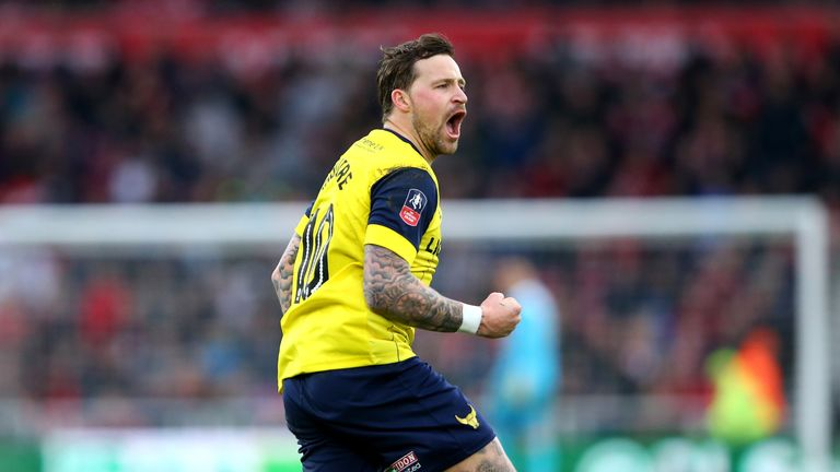 Chris Maguire celebrates his goal in the 65th minute