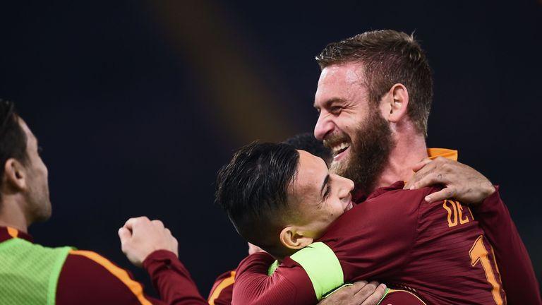 Roma's Daniele De Rossi (right) celebrates with Federico Fazio