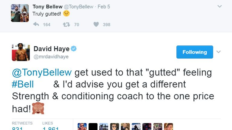 Haye angered future opponent Tony Bellew with tweets about Price and Coldwell