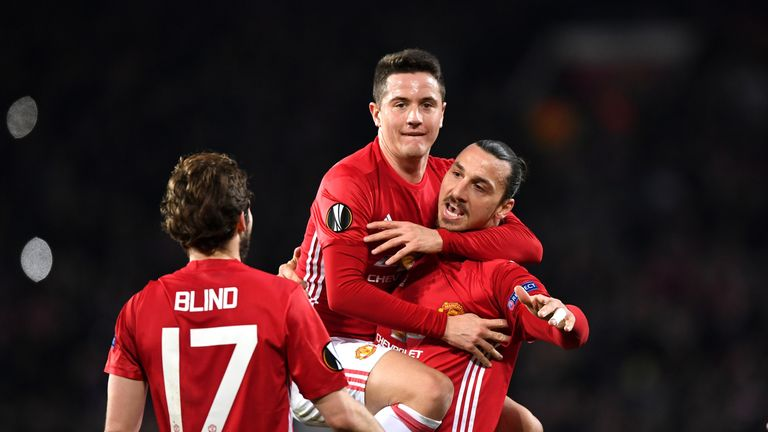 Zlatan Ibrahimovic's ghat-trick put Manchester United in firm control of the Europa League last-32 tie with Saint-Etienne