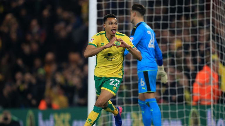 Jacob Murphy celebrates scoring for Norwich