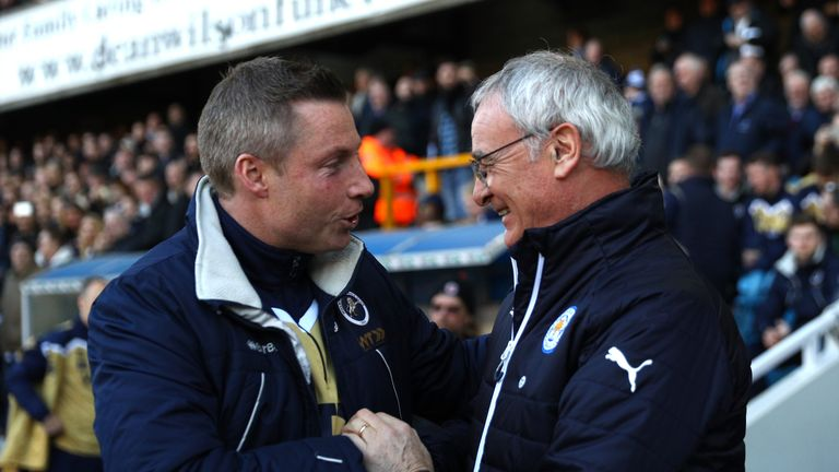 Neil Harris and Claudio Ranieri shake hands before the FA Cup clash