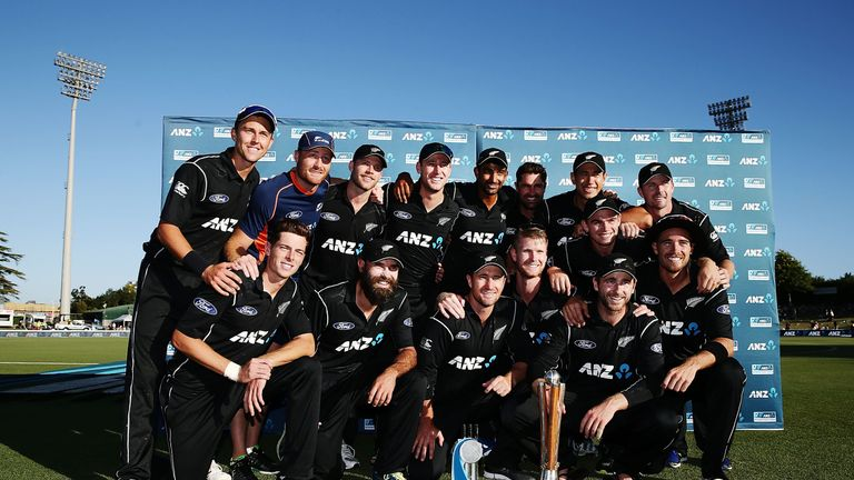 Celebrations for New Zealand's squad after the series win over their Trans-Tasman rivals