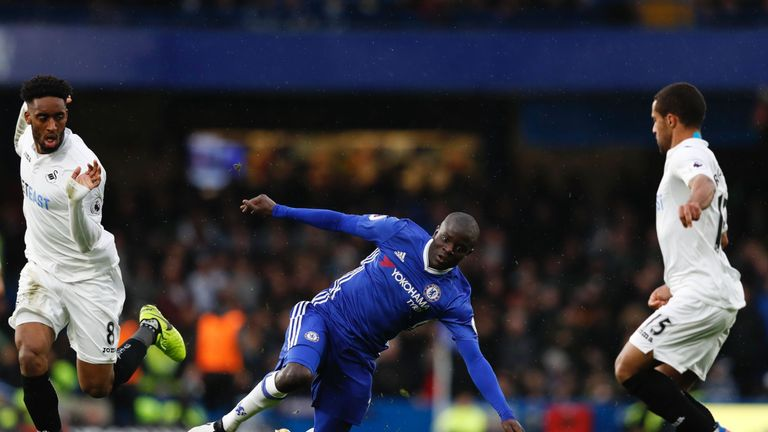 Kante (C) helped Chelsea to back-to-back wins in the Premier League in March