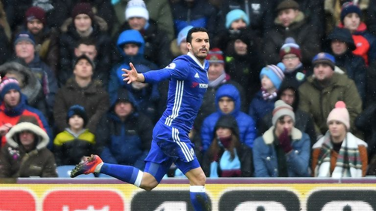 Pedro finished a flowing Chelsea move to put his side in front at Turf Moor