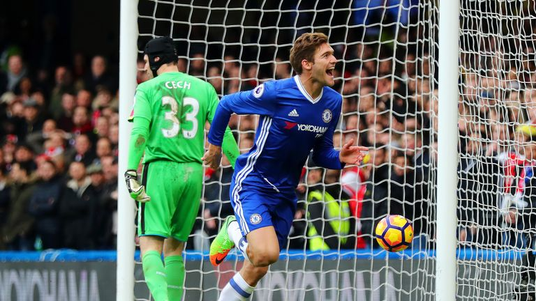 Marcos Alonso celebrates after giving Chelsea the lead