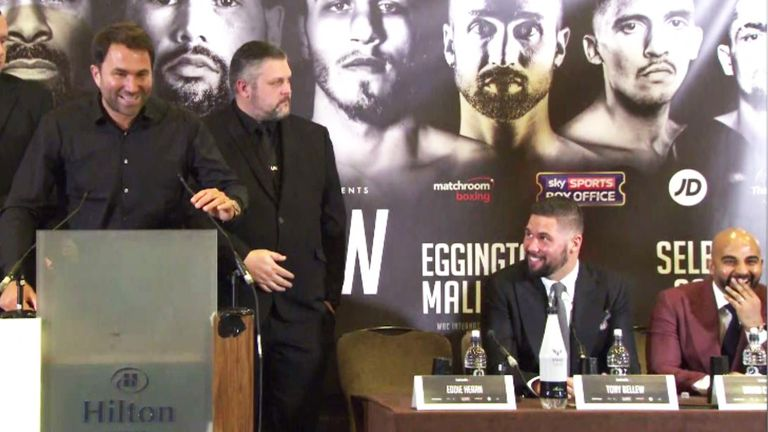 Tony Bellew (seated) and David Haye clashed again at their Liverpool press conference