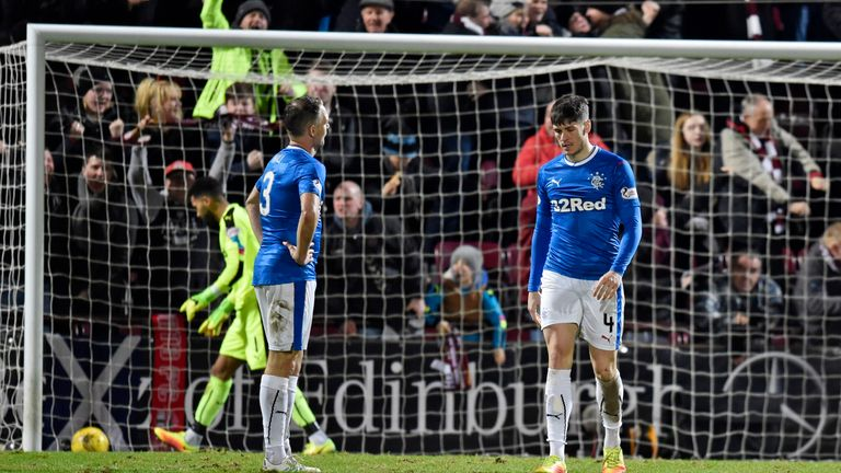 Rangers' Clint Hill (left) and Rob Kiernan are left dejected after conceding the second Hearts goal