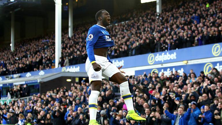 Romelu Lukaku celebrates his opening goal for Everton