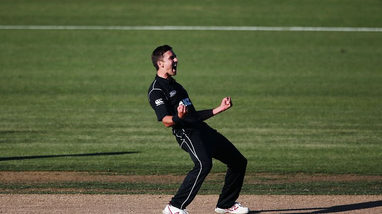 Trent Boult celebrates taking the final wicket in Hamilton
