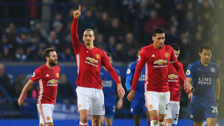Zlatan Ibrahimovic celebrates his strike