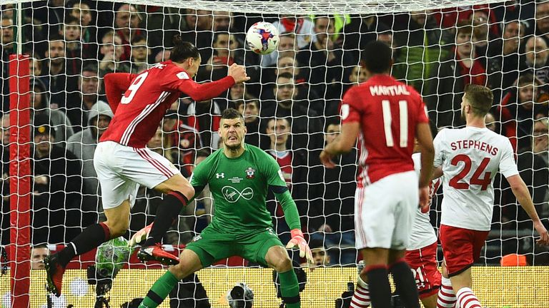 Zlatan Ibrahimovic heads the game winning goal beyond Fraser Forster
