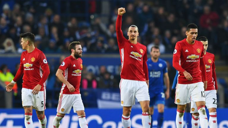 Zlatan Ibrahimovic (centre) celebrates doubling United's lead