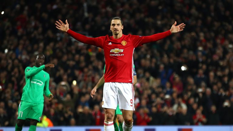 Zlatan Ibrahimovic celebrates after scoring the 17th hat-trick of his career on Thursday