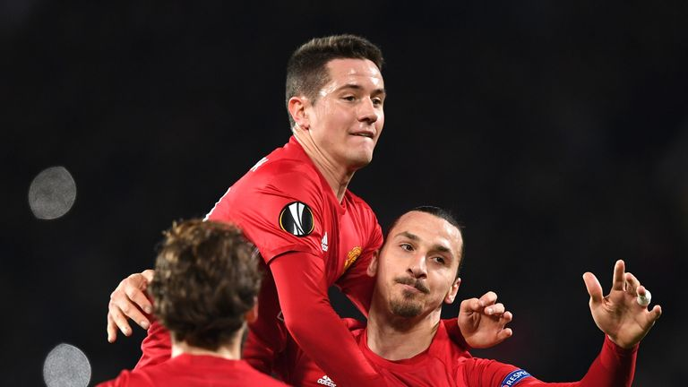 Ibrahimovic celebrates his first goal with Ander Herrera