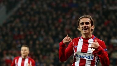 Antoine Griezmann celebrates his goal in the 25th minute for Atletico Madrid at Bayer Leverkusen