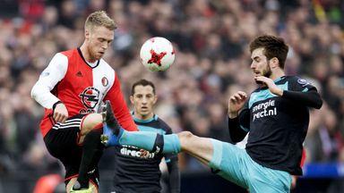 Feyenoord's Nicolai Jorgensen (left) competes with PSV's Davy Proepper