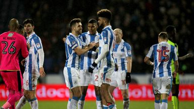 Huddersfield Town's Tommy Smith celebrates with Philip Billing after the Sky Bet Championship match v Reading at the John Smith's Stadium, Huddersfield