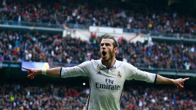 Gareth Bale celebrates after scoring against Espanyol
