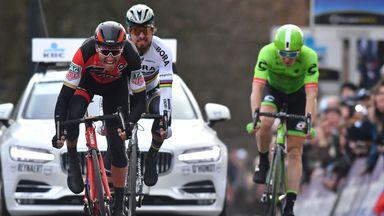 Greg Van Avermaet of BMC Racing Team beats Peter Sagan of Bora-Hansgrohe and Sep Vanmarcke of Cannondale to win Omloop Het Nieuwsblad