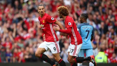 Zlatan Ibrahimovic (left) has the option to extend his contract at Manchester United beyond the end of the season