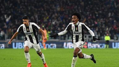 Juan Cuadrado celebrates his stunning winner for Juventus against Inter Milan