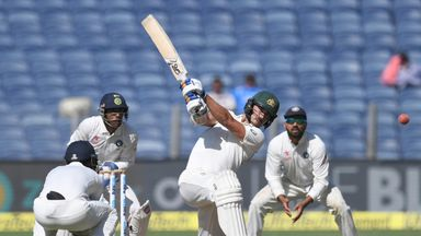 Mitchell Starc hit a counter-attacking half-century on day one in Pune (Credit: AFP)