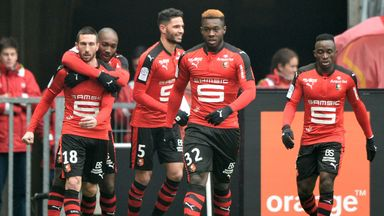 Morgan Amalfitano enjoys his goal for Rennes against Nice
