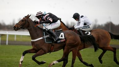 Nico de Boinville and River Wylde get the better of Elgin to win the Sky Bet Dovecote Novices' Hurdle at Kempton.