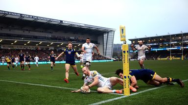 James Short's hat-trick helped the Chiefs to victory at Sixways