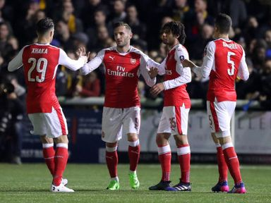 Lucas Perez is congratulated after opening the scoring