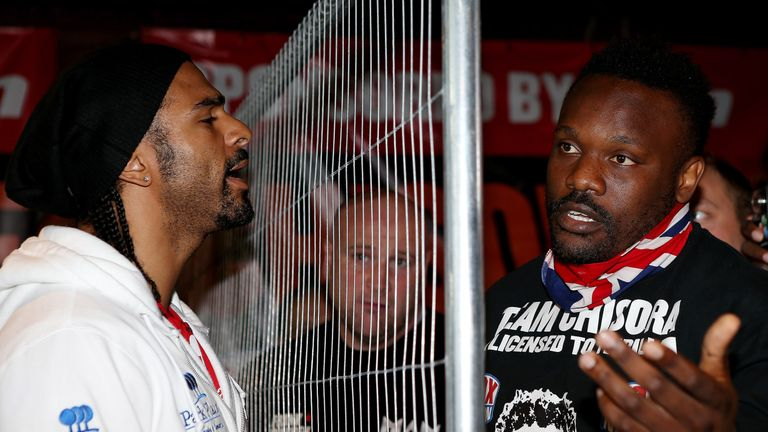 LONDON, ENGLAND - JULY 11:  David Haye (L) and Dereck Chisora during a head to head press conference on July 11, 2012 in London, England.  (Photo by Scott